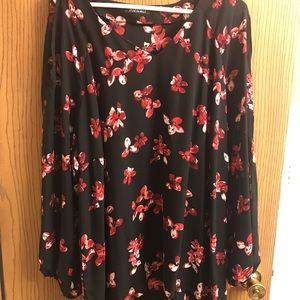 Plus Floral Blouse with Split Sleeves